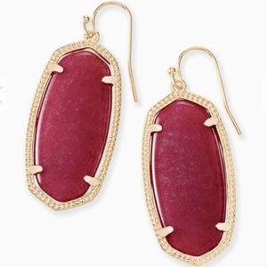 Elle Gold Drop Earrings In Maroon Jade